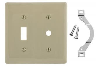 (1-Telephone, Ivory) - Bryant Electric NP112I 2-Gang 1-Toggle 1-Telephone Opening Nylon Wallplate, Standard/10.3mm, Ivory