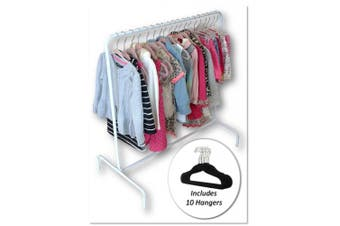 (Rack with 10 Black Hangers) - Child Garment Rack- Kids Closet Organiser- with 10 Children's Velvet Hangers (Rack with 10 Black Hangers)