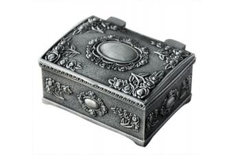(Small Square) - Aimeio European Style Fashion Metal Jewellery Case Trinket Box Lord Rings Packing Box Square Shape Alloy Flower Carved Jewellery Box (Small Square)