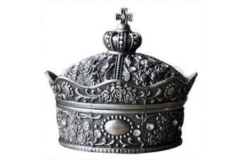 (Large Crown) - Aimeio Metal Jewellery Case Small Size Trinket Box Vintage Flower Carved Crown Design Tin-alloy Jewellery Box (Large Crown)