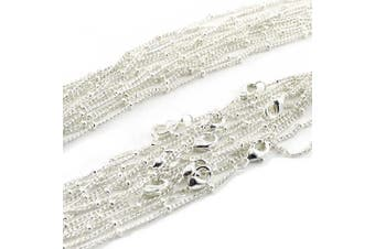 (80cm ) - Wholesale Silver Plated Brass Beaded Ball Curb Chain Satellite Chains Necklace Bulk for Jewellery Making 1.5mm Wide/12PCS (30 inch)