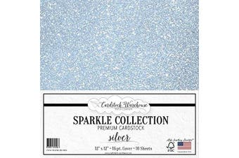 (Silver) - MirriSparkle Silver Glitter Cardstock Paper 30cm x 30cm - 16 PT/280 GSM Heavyweight - 10 Sheets from Cardstock Warehouse