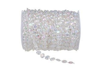 Clear Iridescent 30m Clear Crystal Like Beads by the roll - Wedding Decorations