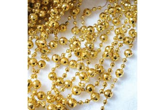 (Gold) - BoJia Pearl Bead Roll Faux Pearls Beads String By the Roll Faux Crystal Beads Garland 15m ABS Cuttable for Christmas, Valentine, Exhibition, Wedding, Clothing, Costume, DIY decoration (Gold)