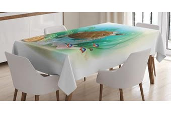 (150cm  W By 230cm  L, Multi 7) - Ocean Decor Tablecloth by Ambesonne, Sea Turtle Swims in the Ocean Tropical Underwater World Aquarium Illustration Print, Rectangular Table Cover for Dining Room Kitchen, 150cm x 230cm , Green Brown