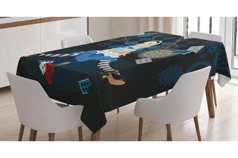 (150cm  W By 210cm  L, Multi 3) - Alice in Wonderland Decorations Tablecloth by Ambesonne, Grown Size Alice Sitting with Fying Cards and Rose Flower Striped Cartoon, Rectangular Table Cover for Dining Room Kitchen, 150cm x 210cm , Multi