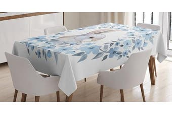 (130cm  W By 180cm  L, Multi 8) - Watercolour Flower Decor Tablecloth by Ambesonne, Bunny Rabbit Portrait in Floral Wreath Illustration Country Style Decor, Rectangular Table Cover for Dining Room Kitchen, 130cm x 180cm , Blue White Cocoa