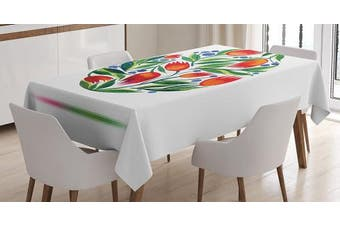 (150cm  W By 210cm  L, Multi 4) - Ambesonne Watercolour Flower Decor Tablecloth, Easter Egg with Tulip Flowers Paint in Retro Style Nostalgic Pastel Colour, Rectangular Table Cover for Dining Room Kitchen, 150cm x 210cm , White Green Red