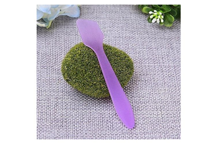 """(Purple) - 100PCS 3.14"""" 8cm Plastic Spatulas Spoon Makeup Cosmetic Mask Frosted Tip Spatula Skin Care Facial Cream Spatula for Mixing and Sampling Beauty Products (Purple)"""