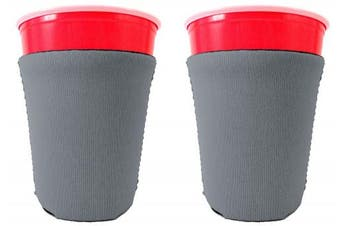 (2, Gray) - Blank Neoprene Solo Cup Collapsible Coolie (2, Grey)