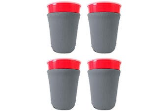 (4, Gray) - Blank Neoprene Solo Cup Collapsible Coolie (4, Grey)