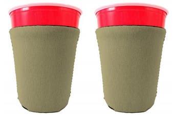 (2, Khaki) - Blank Neoprene Solo Cup Collapsible Coolie (2, Khaki)