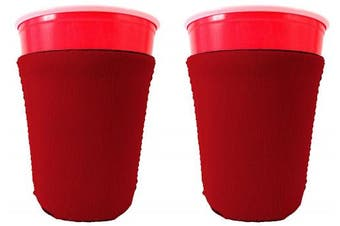 (2, Red) - Blank Neoprene Solo Cup Collapsible Coolie (2, Red)