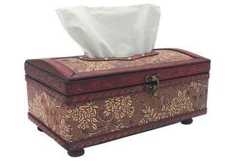 (Flower) - Retro Tissue Box Wood Cover, Rectangle Tissue Box Holder/Dispenser By ZOHUMI (Flower)