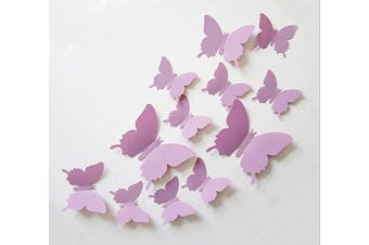 (Light Purple) - Cute Product 12Pcs 3d Butterfly Removable Wall Decals Diy Home Decorations Art Decor Wall Stickers Murals for Babys Kids Bedroom Living Room Classroom Office(Colour: Light Purple)