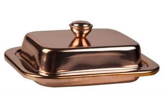 Butter Dish W/Lid Copper Finish - 18cm