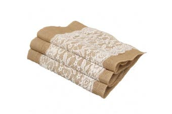 "Aokbean Set of 5 Vintage White Lace Burlap Hessian Table Runner Natural Jute Wedding Table Decorations, 30 x 108 cm /12""x 42"""