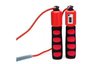 (Red) - Anser Rope skipping 390 Adjustable Jump Rope with Counter and Comfortable Handles