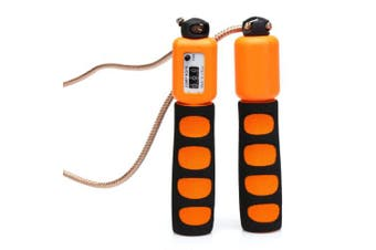 (Orange) - Anser Rope skipping 390 Adjustable Jump Rope with Counter and Comfortable Handles