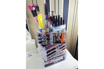 (9 Drawers) - Cq acrylic Large 9 Tier Clear Acrylic Cosmetic Makeup Storage Cube Organiser with 9 Drawers. It Consists of 4 Separate Organisers, Each of Which Can be Used Individually -24cm x 17cm x 14.13cm
