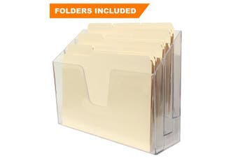 Acrimet Horizontal Triple File Folder Organiser (Folders Included) (Crystal Colour)