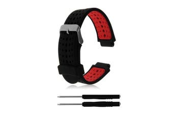 (02 Black & Red) - ZSZCXD Soft Silicone Replacement Watch Band for Garmin Forerunner 230/235/220/620/630/735 Smart Watch
