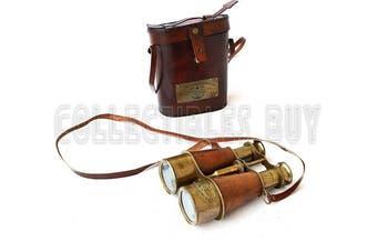 (Orange) - Victorian Marine Brass Leather Binocular Sailor Instrument London 1915 (Orange)