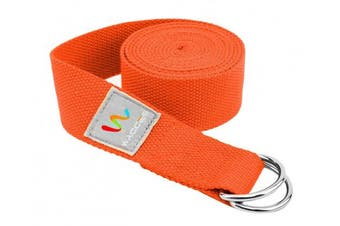 (2.4m, Orange) - Wacces D-Ring Buckle Cotton Yoga Straps Bands - Best for Stretching