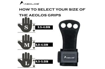 (Large, Black(2 layers leather)) - AEOLOS Leather Gymnastics Hand Grips-Great for Gymnastics,Pull up,Weight Lifting,Kettlebells and Crossfit Training