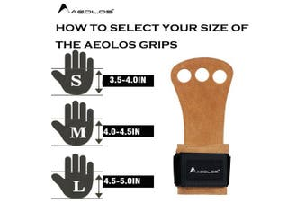 (Medium, Brown(2 layers leather)) - AEOLOS Leather Gymnastics Hand Grips-Great for Gymnastics,Pull up,Weight Lifting,Kettlebells and Crossfit Training
