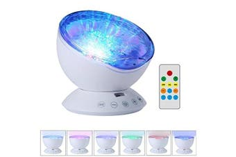 Projector Night Light Lamp,TechCode Remote Control Ocean Wave Projector Night Light Lamp with Built-in Music Player [12 LED Beads, 7 Colourful Light Modes] for Kids Adults Bedroom Living Room