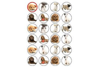 24 Puppy Dog Puppies Edible Wafer Paper Cup Cake Toppers