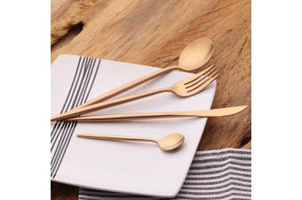 (Rose Golden) - LEKOCH 4-Piece Luxury Cutlery 18/10 Stainless Steel Royal Flatware Including Fork Knife Spoons Set for 1 (Rose Golden)