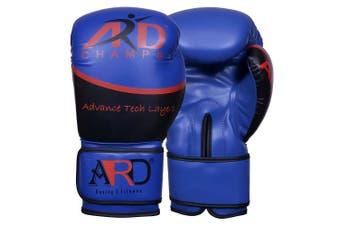 (410ml, Blue) - ARD Art Leather Boxing Gloves Fight Punching MMA Muay Thai Kickboxing