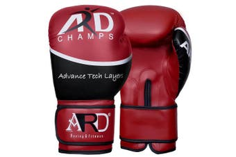 (350ml, Red) - ARD Art Leather Boxing Gloves Fight Punching MMA Muay Thai Kickboxing