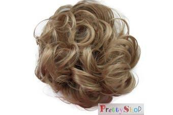 (Dark bond # 24A G19A) - PRETTYSHOP Scrunchy Scrunchie Bun Up Do Hair Piece Hair Ribbon Ponytail Extensions Wavy Messy Dark bond # 24A G19A