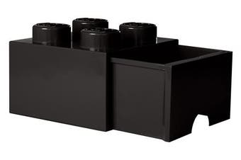 (Black) - LEGO Brick Drawer 4 Knobs, 1 Drawer, Stackable Storage Box, 4.7 L, Black