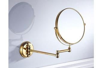 (Gold) - 7Trees 20cm Retro Bathroom Folding Wall Mount Make-Up Mirror Flip Telescopic Beauty Mirror (Gold)