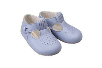 (20 UK / 18-24 Mo., Sky Blue) - Baby Boys T Bar Pram Shoes with hole cut pattern – Made in England by Early Days Baypods