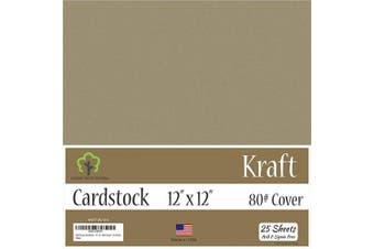 (30cm  x 30cm  - 25 Sheets) - Kraft Brown Cardstock - 30cm x 30cm - 36kg Cover - 25 Sheets