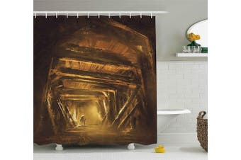(180cm  W By 190cm  L, Multi 14) - Cartoon Decor Shower Curtain by Ambesonne, Art Painting of Abandoned Mine with Explorer Mystic Adventure Print, Fabric Bathroom Decor Set with Hooks, 190cm Long, Golden and Brown