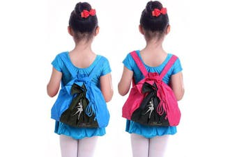 (Rose Red) - BAO CORE Girls High Quality Double Layers Dancing Drawstring Bag Gym Sports Ballet Bag Backpack Daypack Waterproof With Adjustable Straps for Kids Rose Red/Blue/Black