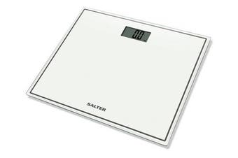(White) - Salter Compact Digital Bathroom Scales - Toughened Glass, Measure Body Weight Metric / Imperial, Easy to Read Digital Display, Instant Precise Reading w/ Step-On Feature, 15Yr Guarantee - White