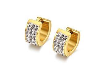Chryssa Youree 7MM Mens Womens Stainless Steel Hoop Earrings Huggie Earrings CZ Inlaid Piercings Hypoallergenic(ED-45) (gold)