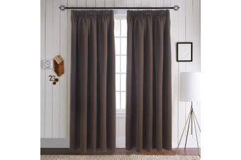 "(Toffee Brown, Pencil Pleat, 170cm W x 140cm L) - Blackout Pencil Pleat Curtains Panels - Aquazolax Premium Thermal Insulated Drapery Solid Room Darkening Curtains for Bedroom, 2 Panels Set, 66""Wx54""L(167cm x 137cm), Toffee Brown"