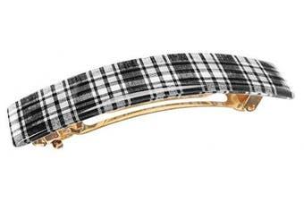 (Tartan Plaid Black/White) - France Luxe Classic Rectangle Barrette - Tartan Plaid Black/White