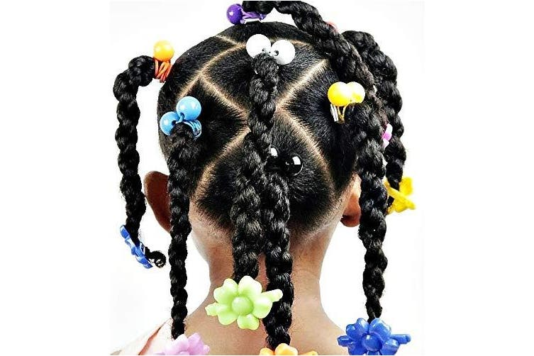 (BLACK) - Tara Girls Twinbead Bubble Ponytail Holders Elastic Hair Accessories 14 Pieces Selection (BLACK)