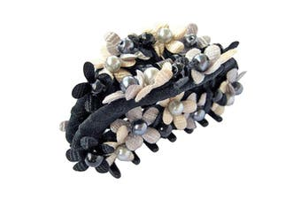 Bzybel Crystal Colourful Rhinestones Flower Luxury Hair Styling Claw Hair Comb for Women Girls (Black)