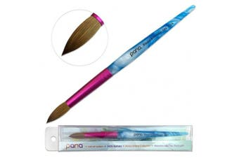 Pana USA Acrylic Nail Brush100% Pure Kolinsky Hair New Design Acrylic White~Swirl~Blue Handle with Pink Ferrule Round Shaped Style (Size # 16)