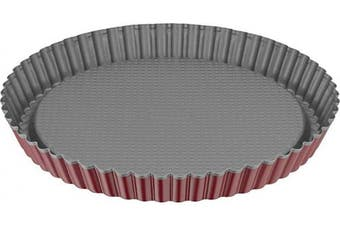 Kaiser Classic Plus Flan Pan, Stainless Steel, Red/Silver, 28.4 x 28.4 x 3.5 cm